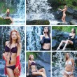 Stock Photo: Young sexy women near the waterfall