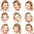 Collage with nine portraits - Stock Photo