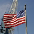 USA flag and a port crane - Stock Photo