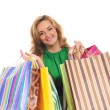 Attractive woman doing shopping isolated on white - Stock Photo