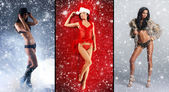 Christmas collage with some sexy girls in lingerie over snowy background — Stock Photo