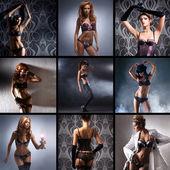 Collage de mode fait de nombreuses pousses de jeunes femmes séduisantes en lingerie — Photo