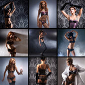 Fashion collage made of many shoots of young attractive women in lingerie — Stock Photo