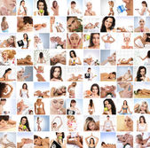 Great collage made of 100 pictures about health, dieting, sport and spa — Foto Stock