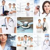一些医疗的元素组成的拼贴画 — 图库照片