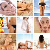 Grote collage over gezondheid, schoonheid, sport, meditatie en spa — Stockfoto