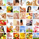 Hermoso collage sobre alimentación sana y el cuidado de la salud — Foto de Stock