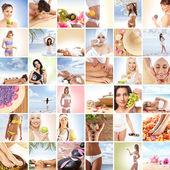 Bellissimo collage di centro termale e benessere, fatta di molti elementi — Foto Stock