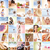 Güzel spa ve sağlık kolaj yapılmış birçok unsuru — Stok fotoğraf