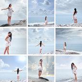 Young beautiful woman near the sea — Stock Photo