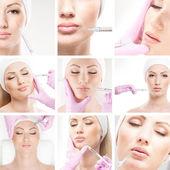 Belle femme reçoit une injection dans son visage — Photo
