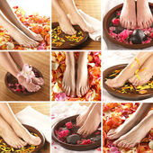Collage with beautiful legs over spa background — Stock Photo