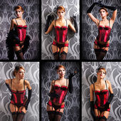 Young and beautiful redhead cabaret dancer over vintage background — Stock Photo