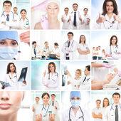 Colagem de cirurgia plástica feita de algumas fotos diferentes — Foto Stock