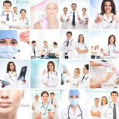 Plastic surgery collage made of some different pictures — Stock Photo