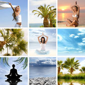 Collage about health and meditation — Stock Photo