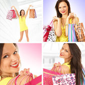 Collage om unga sexiga kvinnliga shopper — Stockfoto
