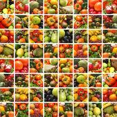 Collage di molte immagini di diversa frutta e verdura — Foto Stock
