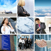 Collage anstossen business reisen — Stockfoto