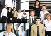 Business collage made of some pictures about young business tea — Stock Photo