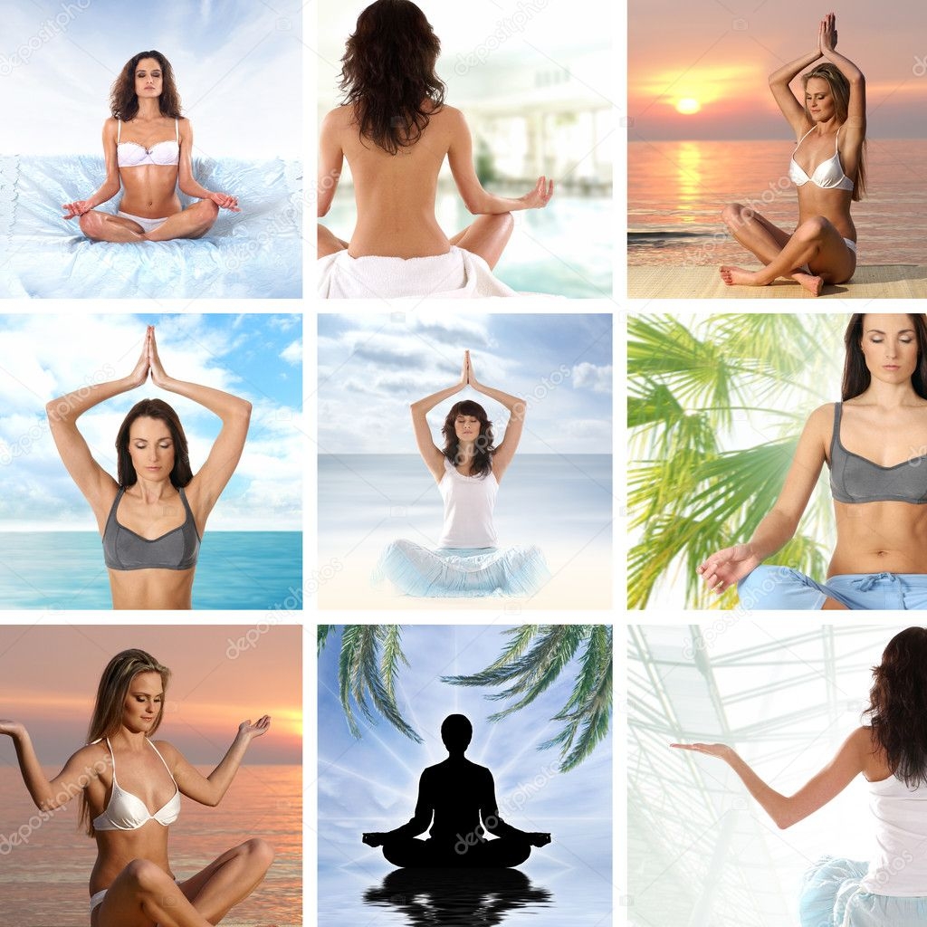 Collage about health and meditation — Stock Photo #15364967