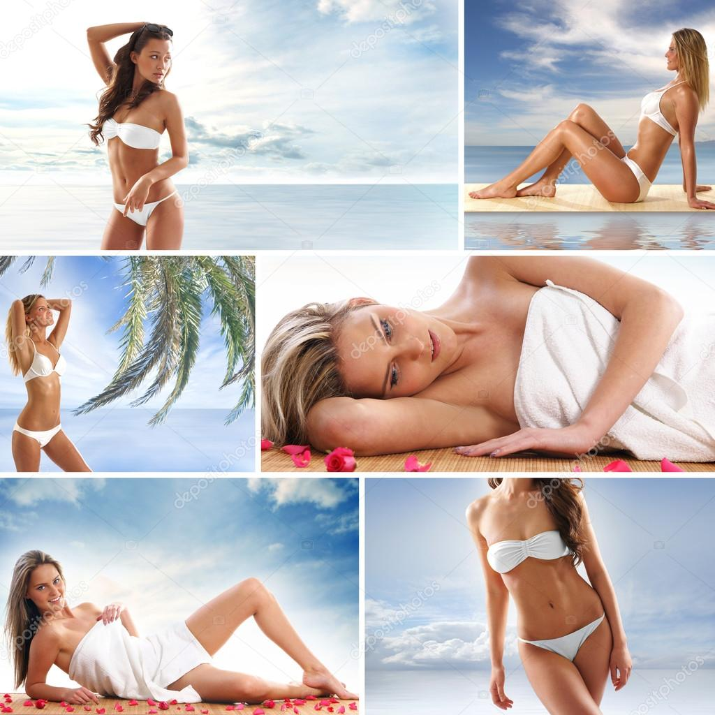 Spa collage with some nice shoots of young and healthy women getting recreation treatment — Stock Photo #15365317