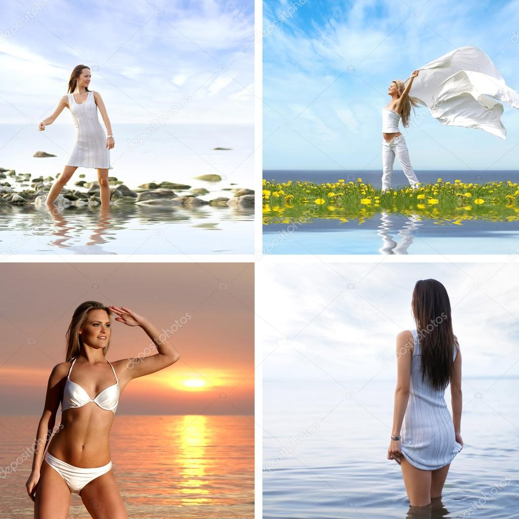 Collage made of some pictures with girls and sea — Stock Photo #15365331