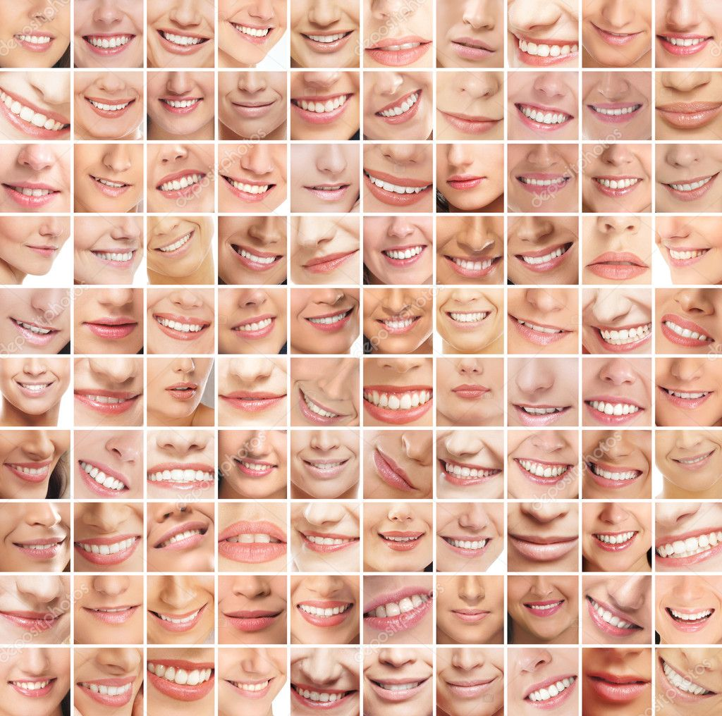 Collage, made of many different smiles — Stock Photo #15365381