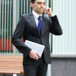 jonge en slimme zakenman praten over de telefoon — Stockfoto #15387253