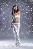 Shooting de mode d'aphrodite de style jeune femme au cours de l'hiver arr.plans — Photo