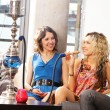 Group of young and sexy smoking hookah in the lounge caffee — ストック写真