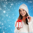 Young and sexy woman in Christmas style — Stock Photo