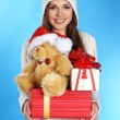 Young and sexy woman in Christmas style - Stock Photo