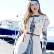 Fashion shoot of young sexy lady in sailor's dress — Stock Photo #15395395