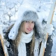 Woman over winter background - Foto Stock