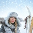Woman over winter background — Stockfoto
