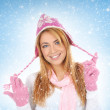 Portrait of young and attractive girl in Christmas style over winter background — Stock Photo