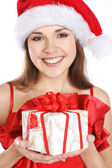 Portrait of young attractive girl in christmas style — Stock Photo
