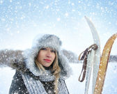Woman over winter background — Stock Photo