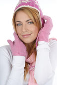 Young attractive woman wearing winter dress — Stock Photo