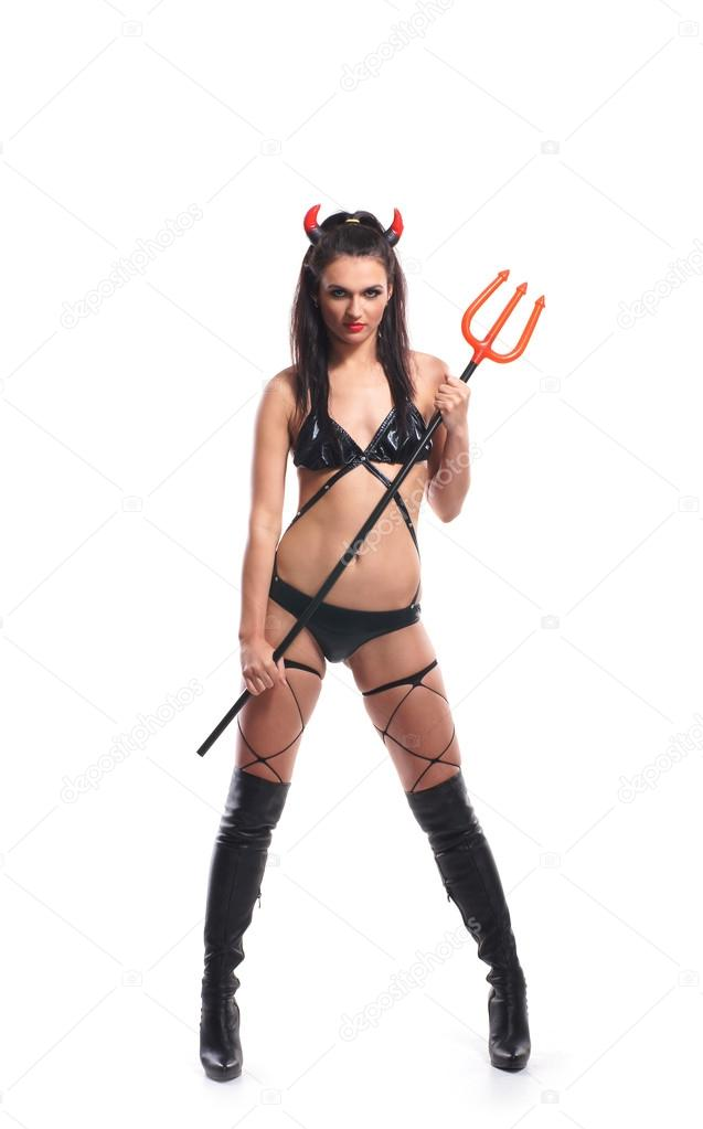 Sexy devil isolated on white — Stock Photo #15399035