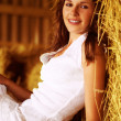 Young and beautiful woman in country style — Stock Photo #15435453