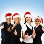 mavi arka plan üzerinde Noel tarzı genç çekici iş — Stok fotoğraf