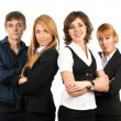 Stock Photo: Group of young business isolated on white