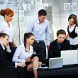 Business group of many different in office at work - Stock Photo