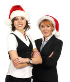Young attractive business women in Christmas style — Stock Photo