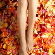 Beautiful legs with the flower petals - Foto Stock