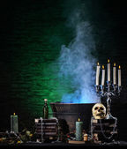 Halloween still-life background with a lot of different elements — Stock Photo