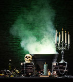Halloween still-life background with a lot of different elements — Photo