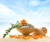 Health care background made of many still-life elements over sea — Stock Photo